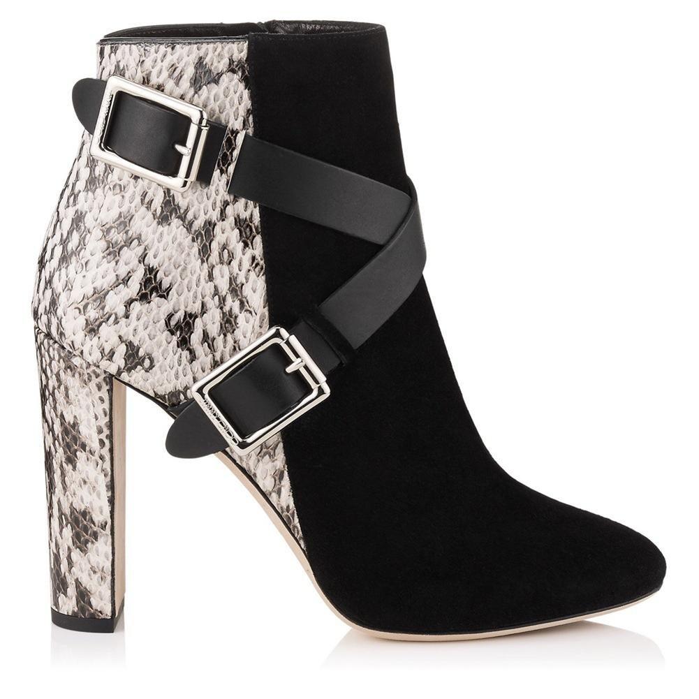 NVXIE Mujeres Tobillo Botas Áspero Talón Zapatos Negro Cuero Gamuza Costura Apuntado Metal Botón Cruz Correas Spring Otoño Invierno, EUR 43/UK 9 BLACK-EUR43UK9