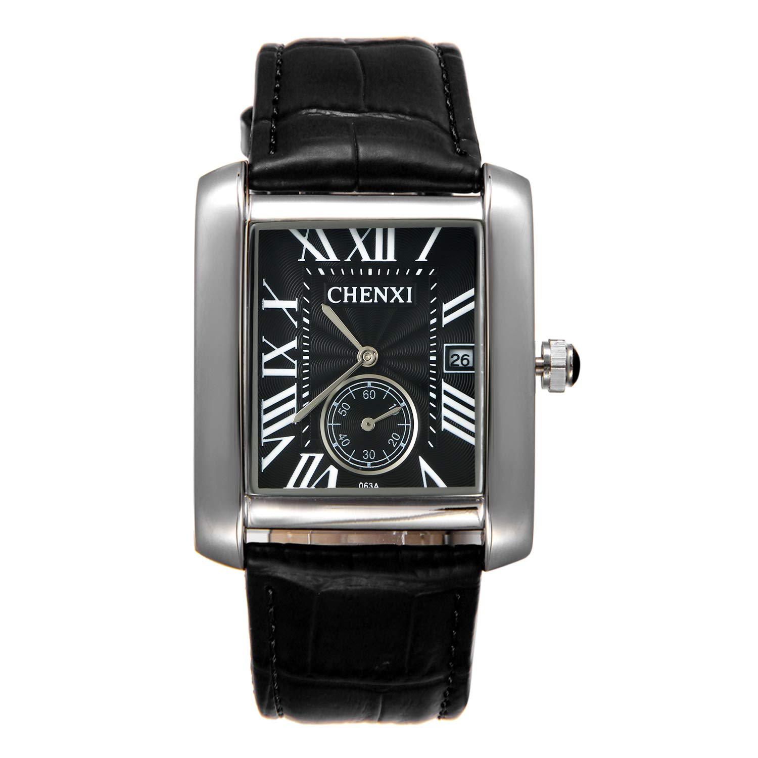 4c30ad4ee Amazon.com: Men's Retro Square Face Japan Quartz Calendar Watch Black  Leather Independent Second Dial Dress Wrist Watches: Watches