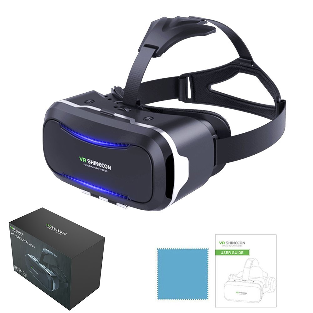 VR SHINECON VR Headset - 3d vr Glasses Headsets Virtual Reality Goggles for 3D Videos, Movies&Games,Eye Protected for iPhone X 8 7 6/6s plus,Samsung note 8 7 s6 s7 s8/Plus, Android Smartphones