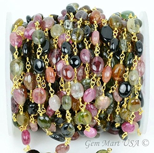 Wholesale One Foot Beautiful Tourmaline,7x5mm Oval 24k Gold Plated wire wrapped Rosary chain by foot. (GPMT-30004)