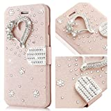 Samsung Galaxy S7 Edge Case,L-FADNUT Bling Jewellery Crystal Rhinestone Flip PU Leather Case,3D Love Magnetic Diamond Buckle with Stand Wallet Card Holder For Galaxy S7 Edge - Rose Gold