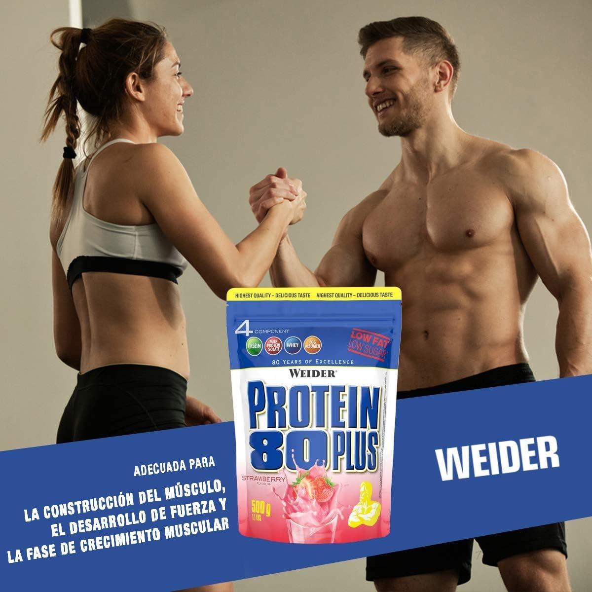 Weider Protein 80 Plus, Proteina de suero de suero de leche, Sabor Fresa, 500 gr