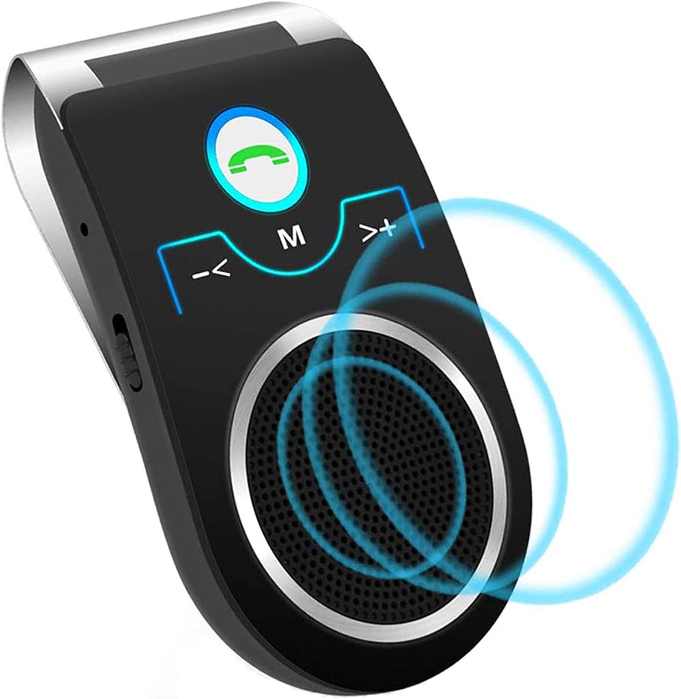 Aigoss Manos Libres Bluetooth Coche Kit con Siri y Google Assistant Kit de Coche Altavoz Inalámbrico con Ranura de Tarjeta TF, Soporta Conexión de 2 Teléfonos Simultáneamente, Negro