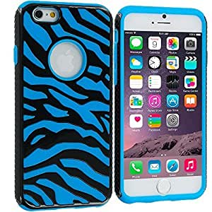 good case Black / Baby Blue Hybrid Zebra Heavy Duty Deluxe Rugged Case Cover for Apple iphone 4 4s
