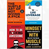 img - for Subtle art of not giving a f*ck[hardcover], life leverage, how to be f*cking awesome, mindset with muscle 4 books collection set book / textbook / text book