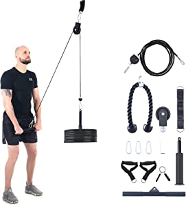 ZELUS 13pc Cable Machine Set with Pulley, Tricep Rope, Handles, Bar, Sleeved Loading Pin, Strap, & More   Lat Pulley System for Home Strength Training   Cable Workout Equipment for Home Gym, 220lb Cap