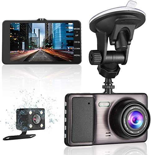 MYPIN 1080P Front and Rear Dual Lens Dash Cam with 4.0 Screen, 170 Wide-Angle Lens, G-Sensor, Parking Monitor, Loop Recording and Car Charger
