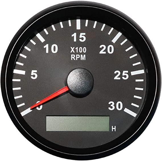 ELING Tachometer REV RPM Gauge with Hour Meter 8000RPM 85mm with Red Backlight