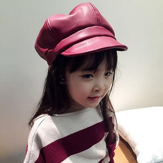 ec92148f7d398 Amazon.com: Gemvie Girls PU Leather 6 Panel Newsboy Baker Boy Cap Peaked  Beret Hat Red: Clothing