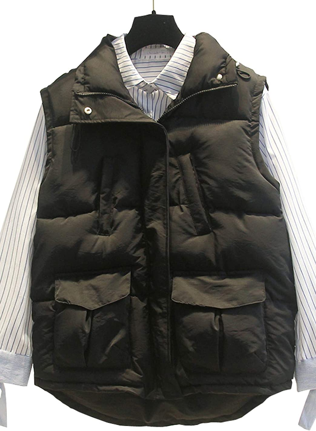 Only Faith Women Basic Standing Collar Quilted Down Vest Winter Warm Thicken Flap Pocket Jacket Coat