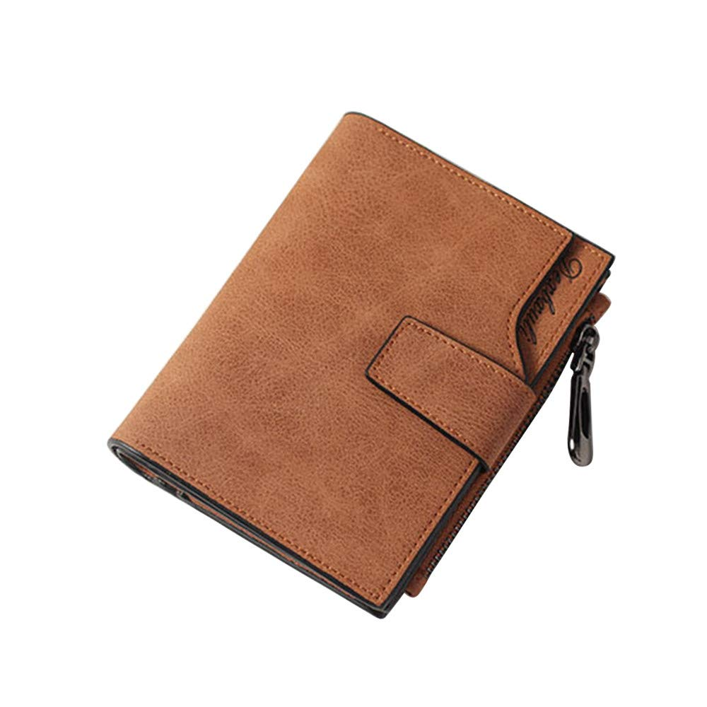 Women Vintage Small Wallet Zipper Coin Purse Credit Card Wallet Leather Purse (brown)