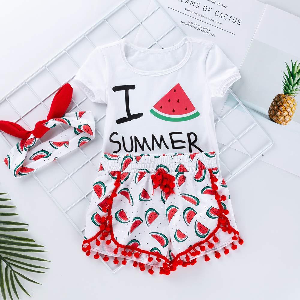 Pantaloni Fascia 3 Pezzi Home Pigiama Outfit Set 1-5 Anni Pantaloncini Liyukee Toddler Infant Baby Girls Cartoon Anguria Stampa T-Shirt Top