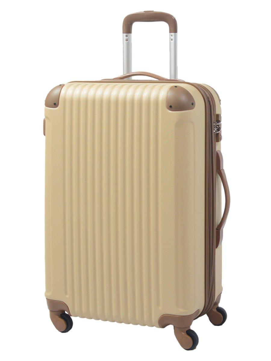 [グリフィンランド]_Griffinland TSAロック搭載 スーツケース キャリーバッグ かわいい エンボス加工 超軽量 newFK1212-1 ファスナー開閉式 S型国内国際線機内持込可 15色3サイズ B01GP2YO3A セット(M+S)|アーモンド/ブラウン アーモンド/ブラウン セット(M+S)