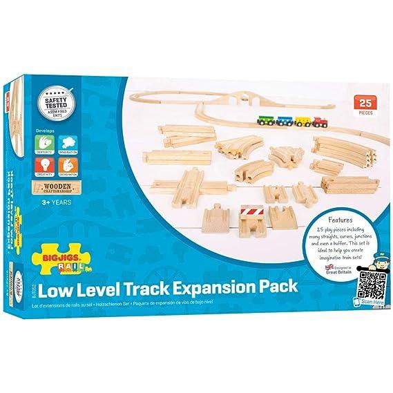 Bigjigs Rail - Expansión de pista de bajo nivel - otras grandes marcas de riel de madera son compatibles: Amazon.es: Juguetes y juegos