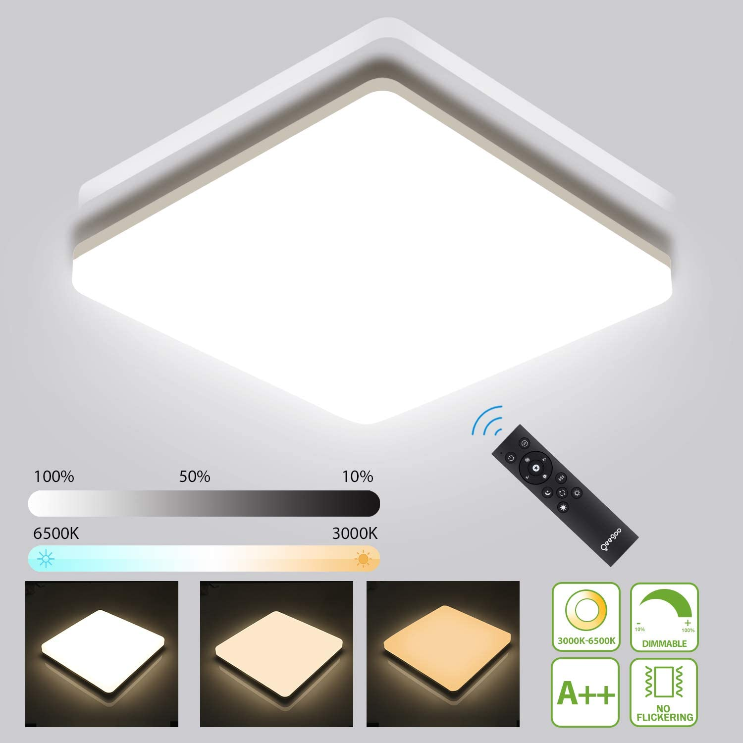 Oeegoo LED Ceiling Light Fixture Dimmable with Remote Control - 3000K-6500K Color Temperature & 10%-100% Brightness, 36W 3600LM IP54 Waterproof Square Ceiling Lamp for Bedroom, Living Room, Bathroom