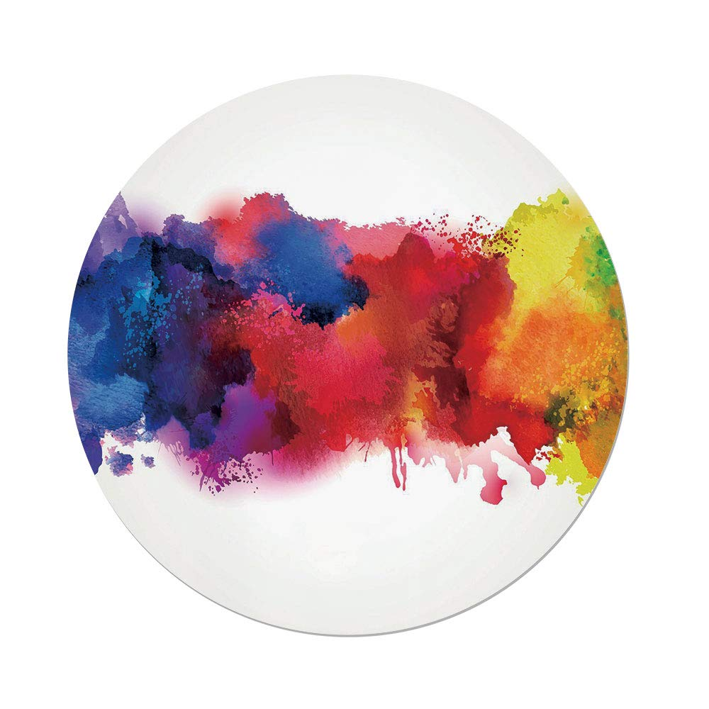 Polyester Round Tablecloth,Abstract,Vibrant Stains of Watercolor Paint Splatters Brushstrokes Dripping Liquid Art Decorative,Red Yellow Blue,Dining Room Kitchen Picnic Table Cloth Cover,for Outdoor I