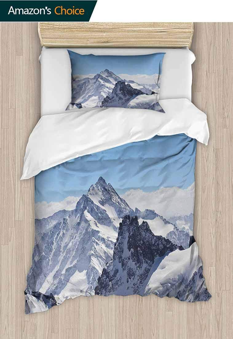 Winter Diy Quilt Cover and Pillowcase Set, Snowy Rocky Mountain Peaks Tops Scene High Lands I, 2 Piece (1 Duvet Cover + 1 Pillow Sham)-110 GSM Ultra Soft Hypoallergenic Microfiber, 47 W x 59 L Inches