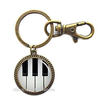 Amazon.com   Piano Keychain Black and White Keyboard Key Ring - Music  Jewelry - Glass Dome Art Key Ring 8d314fe5b405