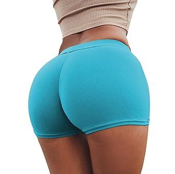 SHOBDW Pantalones de Verano Mujeres Shorts Deportivos Gimnasio de Moda Workout Waistband Skinny Yoga Short Pants