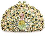 Mossmon Luxury Crystal Clutch Peacock Evening Bag