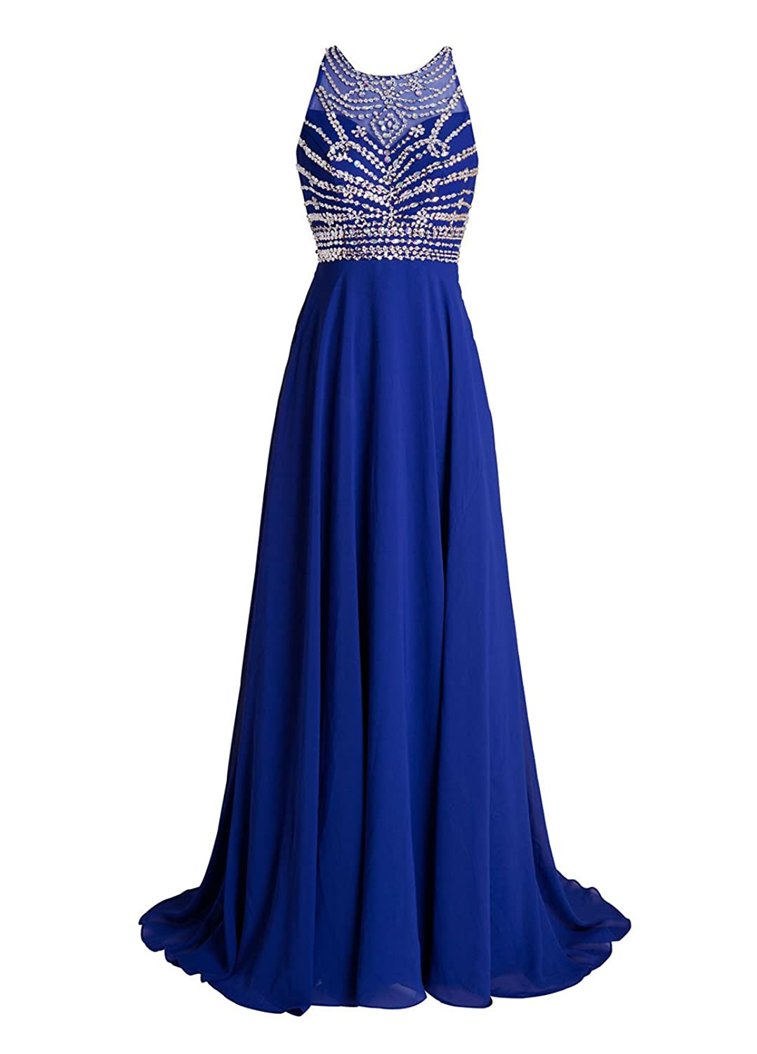 AngelDragon Two Shoulder Rhinestones Beading Chiffon Long Prom Dresses Bridesmaid Gowns
