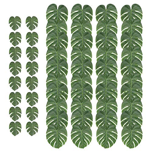 DELONIX Palm Leaf,40pcs Large Tropical Monstera Leaf,16pcs Medium Faux Tropical Leaves for Safari Party,Jungle Party Decorations,Centerpiece for Hawaiian Luau Party