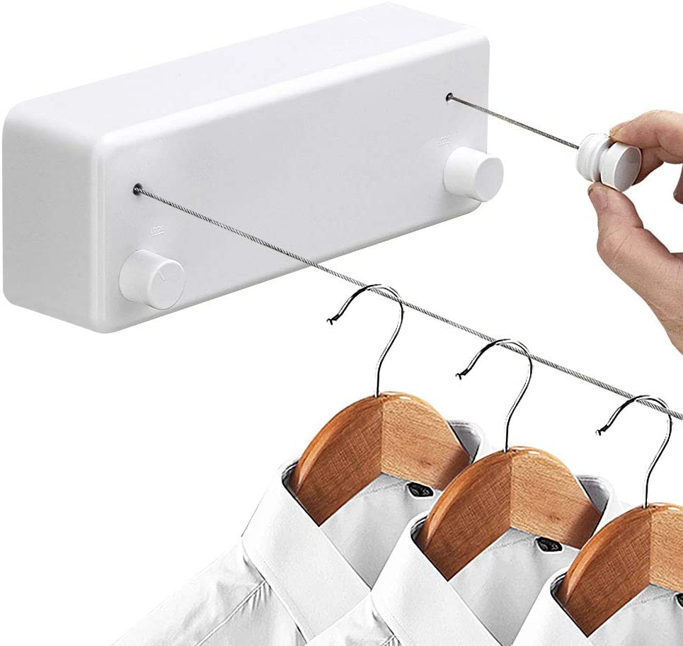 Hoimpro Retractable Clothesline with Adjustable Stainless Steel Double Rope String Hotel Style Heavy Duty for Bathroom, Wall Mounted Laundry Drying Line for Shower, 14 Feet Indoor Clothes Line, White