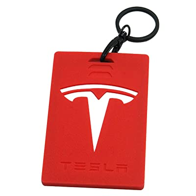 Wall Stickz Car Sales Key Card Holder for Tesla Model 3 Silicone Protector Cover Key Card Keychain (Red): Automotive