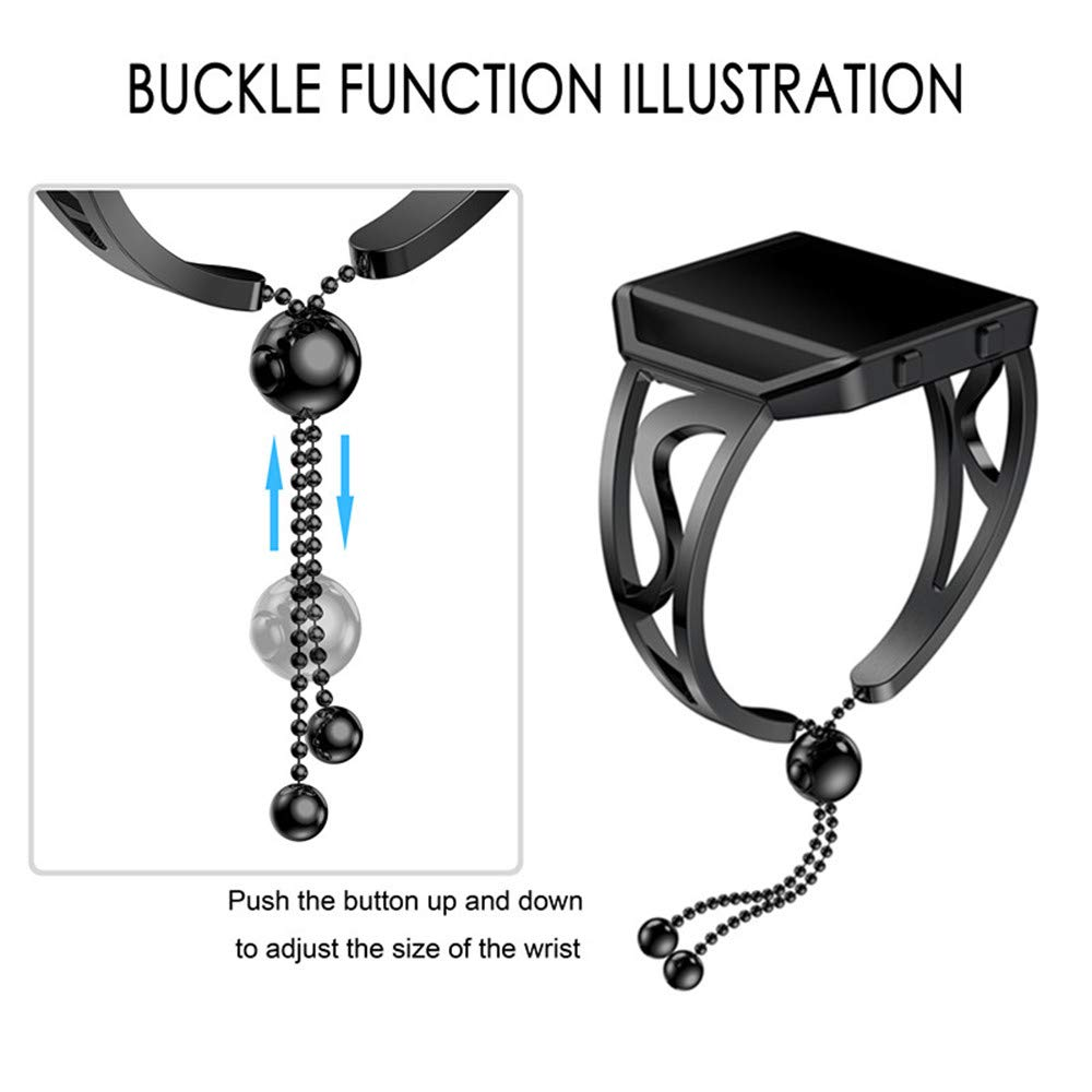 Fullfun Luxurious Fashion Stainless Steel Bracelet Girls Watch Band Strap for Fitbit Blaze Replacement Band (Black)