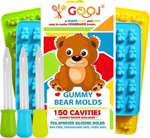 Gooj-Gummy Bear Molds- (Recipe printed on the pack) 3 Silicone Molds 150 gummy bears total +3 Droppers- BPA Free (3 Pack; Green, blue, and Yellow)