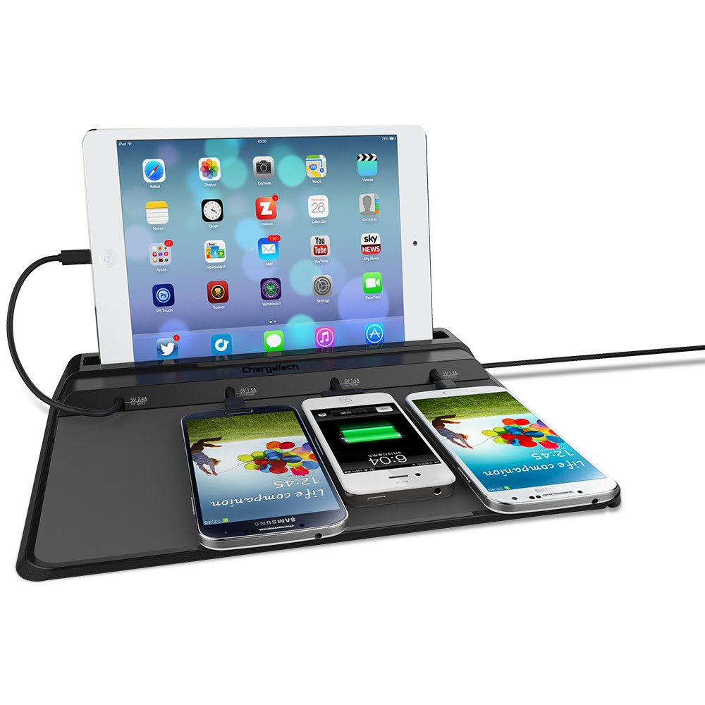 ChargeTech - Cell Phone Dock Charging Station Pad w/ 4 Interchangeable Charging Tips Included for Multiple Devices: iPhone, iPad, iPad, Samsung Galaxy, Note Tab - Fast Charge (Model: CS4)