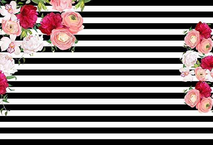 HUAYI 6.5x5ft Baby birthday banner vinyl backdrop polyster Black nad white stripes backdrop Photography Backdrops Rose Flower Floral Background W-337