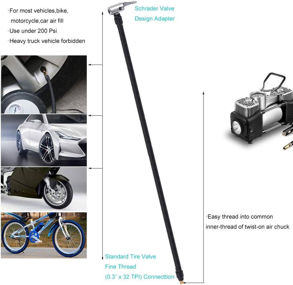 Moto Pneu de Voiture Gwxevce Mandrin pneumatique /à Verrouillage avec Adaptateur de gonfleur de Tuyau dair pour v/élo
