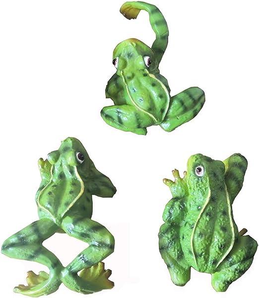 zeng Figurita de Rana de jardín,3 pcs Rana de Ornamentos Creativo Micro Paisaje Ranas Figura Artesanía Animales artesanía decoración de jardín,césped o decoración del hogar: Amazon.es: Jardín