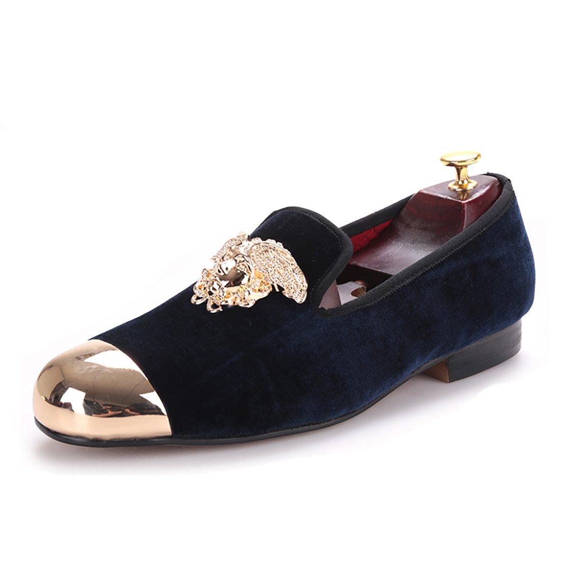 HI&HANN Men's Loafers Gold Top and Metal Toe Men Velvet Casual Shoes Smoking Slipper-7.5-Navyblue