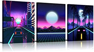 Purple Wall Decor Cool Posters Boy Teen Room Decor Bedroom Decor for Men Wall Art for Living Room Office Decor for Men Retro Vintage 80s Car City Canvas Wall Art Pictures Neon Sunset Framed Artwork