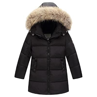 Abetteric Baby Girl's Mid Long Thicken With Faux Fur Hood Parka Jacket