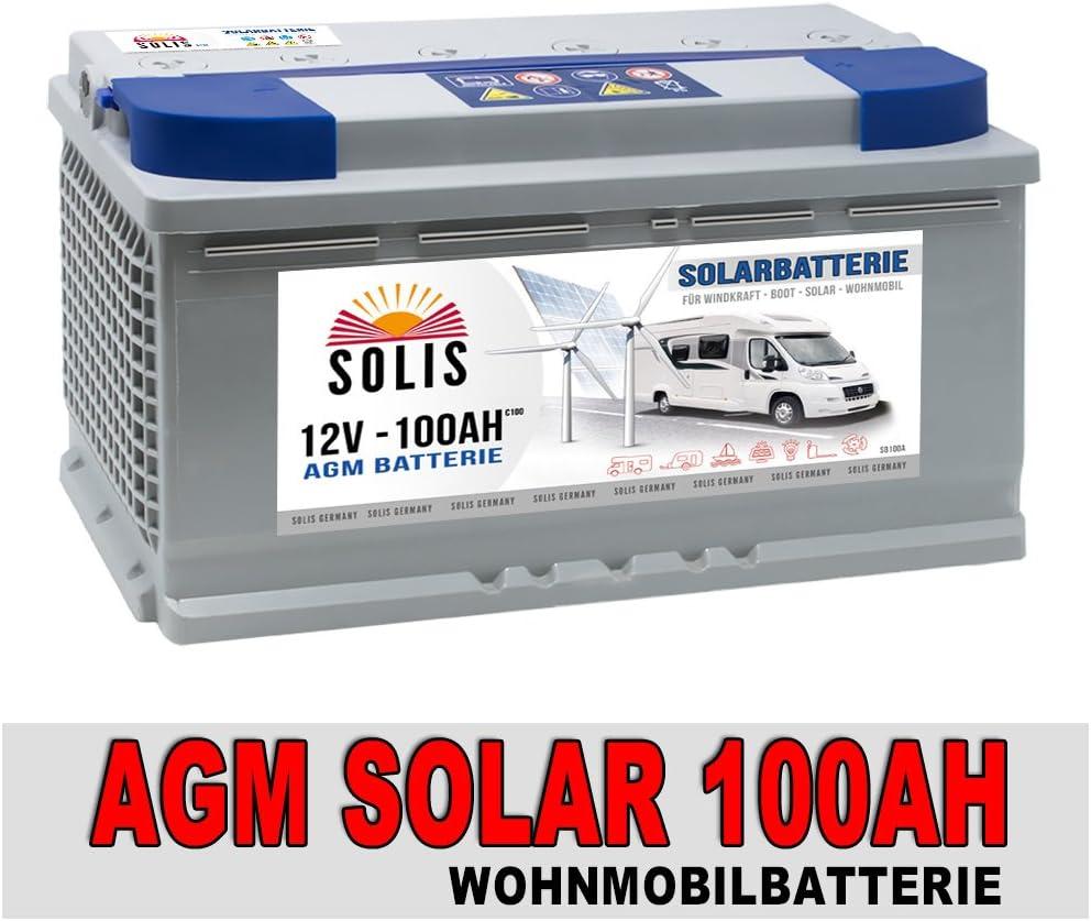 Solis Versorgungsbatterie Solarbatterie 100AH AGM GEL Wohnmobil Boot Batterie