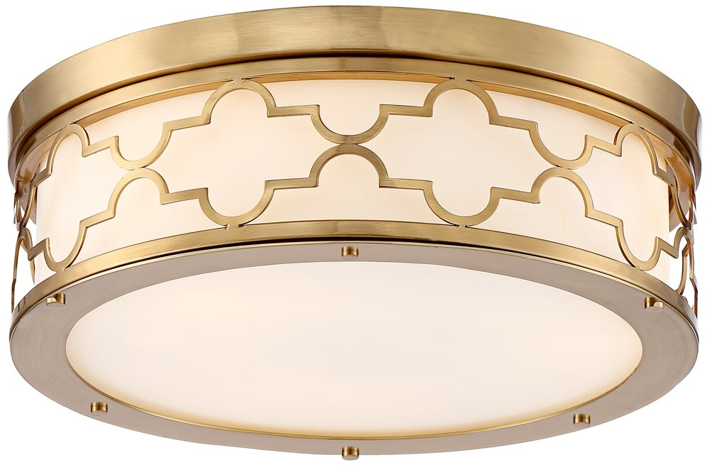Possini Euro Karenna 15'' Wide Satin Brass Ceiling Light by Possini Euro Design