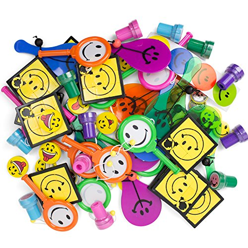 73 Pc Party Favors. Mega Smiley Theme Toy Assortment. Kids Goody Bag. Bulk Gag Prizes For Carnivals, Classroom/Parents Rewards. Children's Activity, Day Camp Treats, Ultimate Fun Birthday Stuffers.