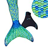 Fin Fun Mermaid Tail, Reinforced Tips, Monofin, Aussie Green, Size Child 10