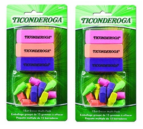 2 Set Eraser (Dixon Ticonderoga Office and School Eraser Combination Set, 2 Packs of 15 Eraser Multi-Pack, Multicolored (38931) (Bundle))