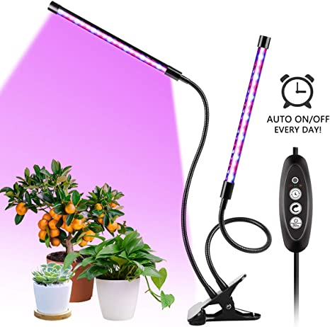 TOPLANET LED Pflanzenlampe Klemme 18W Led Grow Lampe mit 12H Automatische Zeitschaltuhr 3 Timer,3 Arten von Modus,Dimmbar 4 Lichtst/ärken Pflanzen Pflanzenlicht Wachsen licht Pflanzenleuchte