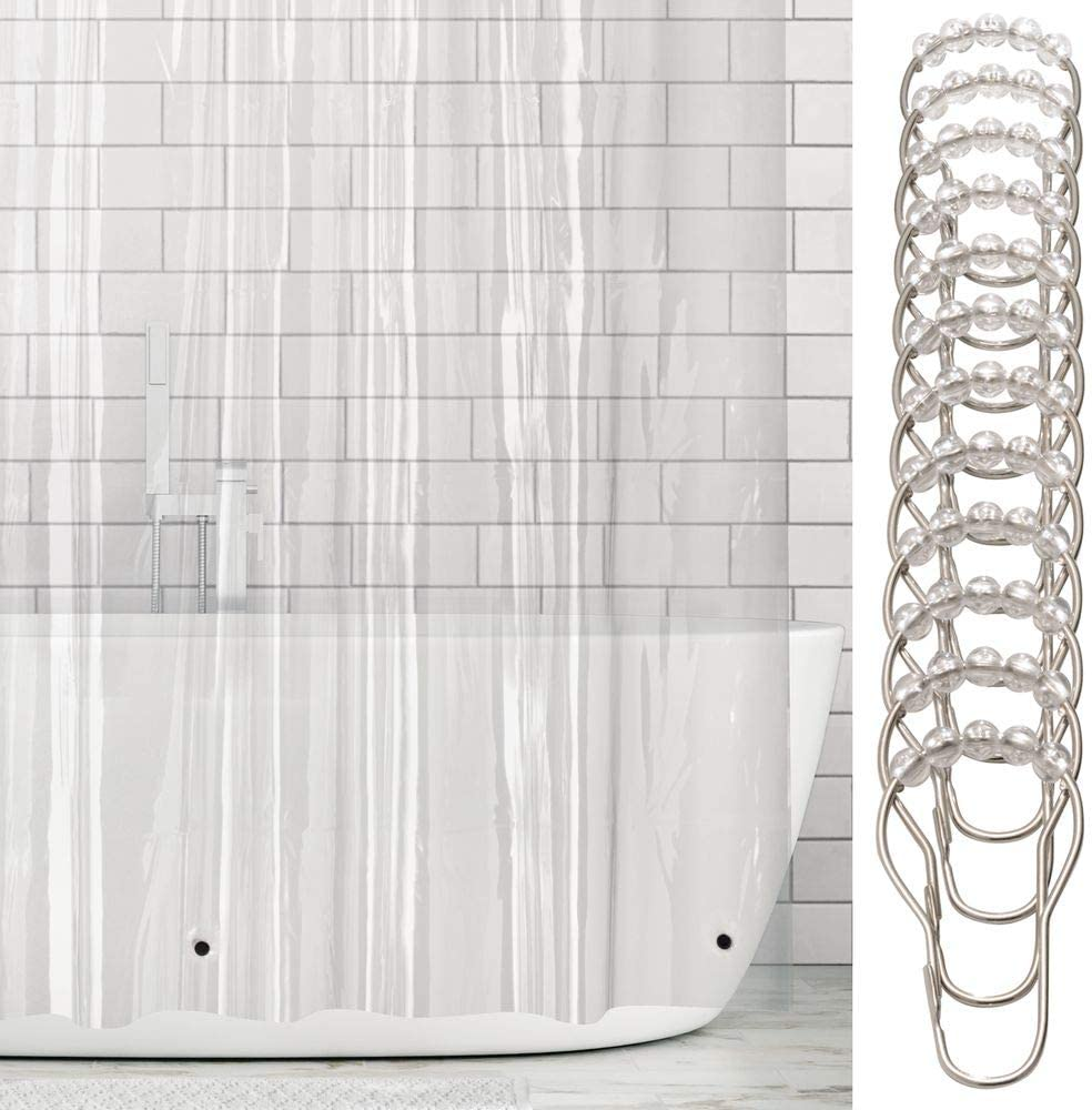 Set of 2 Fabric Shower Curtains with 12 Hooks for Hanging Waterproof Shower Curtain Made from Durable Material mDesign Shower Curtain Transparent