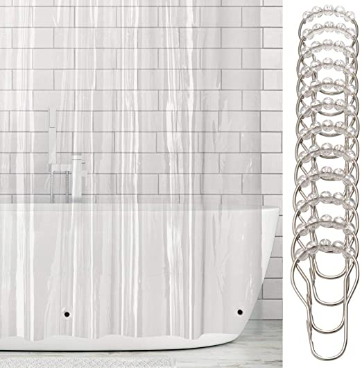 mDesign Cortina de baño de vinilo – Cortinas de baño larga con 12 ...