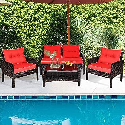 MengFeiNi 4-Piece Patio Rattan Furniture Sofa Set Red