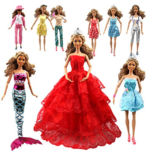 Accessories Doll Clothes Barbie (Tatuer 110PCS Barbie Doll Clothes and Accessories Include-10 PCS Clothes Party Gown Outfits +100 PCS Doll Shoes Hanger Magic wand for Girl's Birthday Xmas Gift)