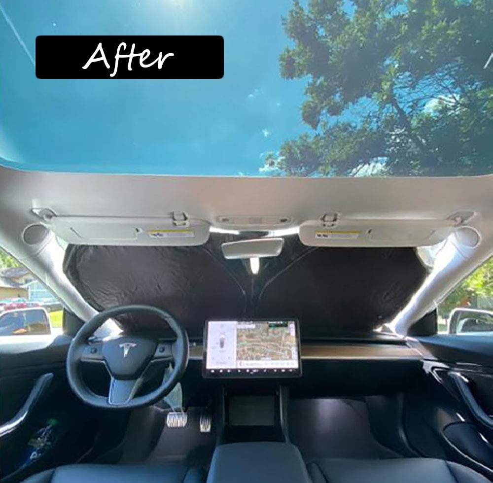 CARORMOKE Car Front Window Sunshade UV Rays Sun Protection Windshield Sunshades Compatible for Tesla Model 3