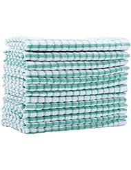Kitchen Towels Bulk 100 Cotton Kitchen Dish-Cloths Scrubbing Dishcloths Sets 11x17 Inch 12pcs (Green)