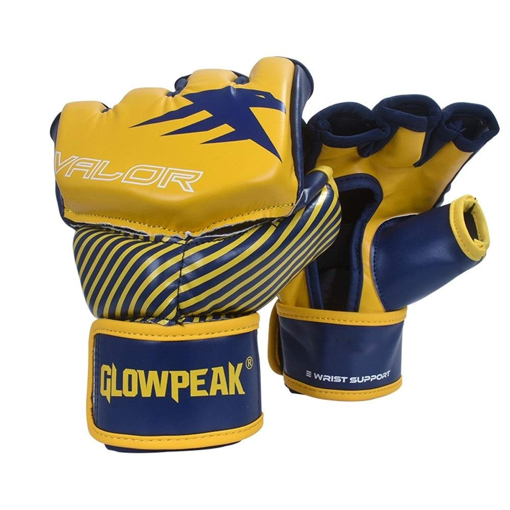 Agelec Adult Unisex Free Fight Muay Thai Taekwondo Sanda Boxing Mitten Half Finger Gloves Wear Palm Opening Breathable Boxing Gloves (Color : Yellow, Size : M)